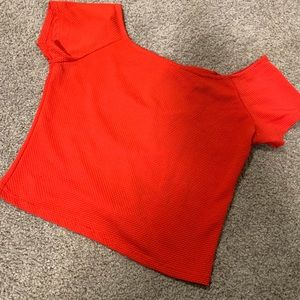Red crop top with bows